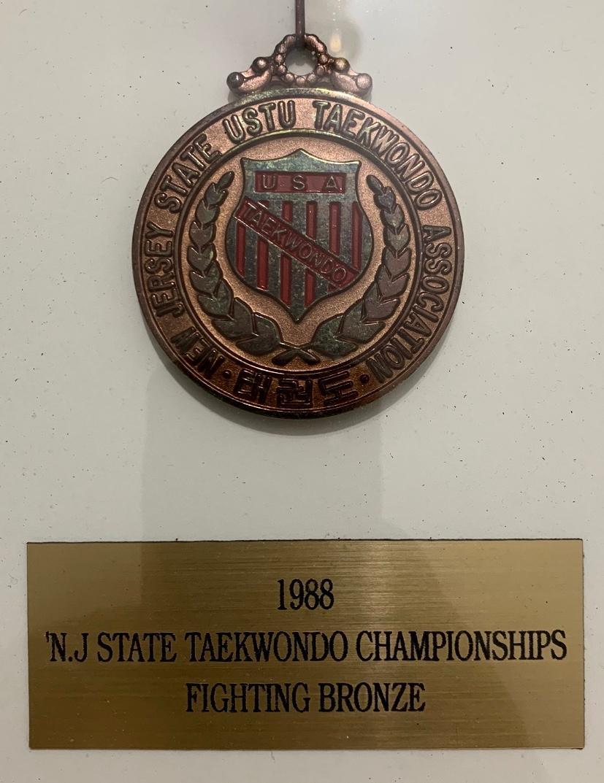 1988 New Jersey State Taekwondo Championship Bronze Medal